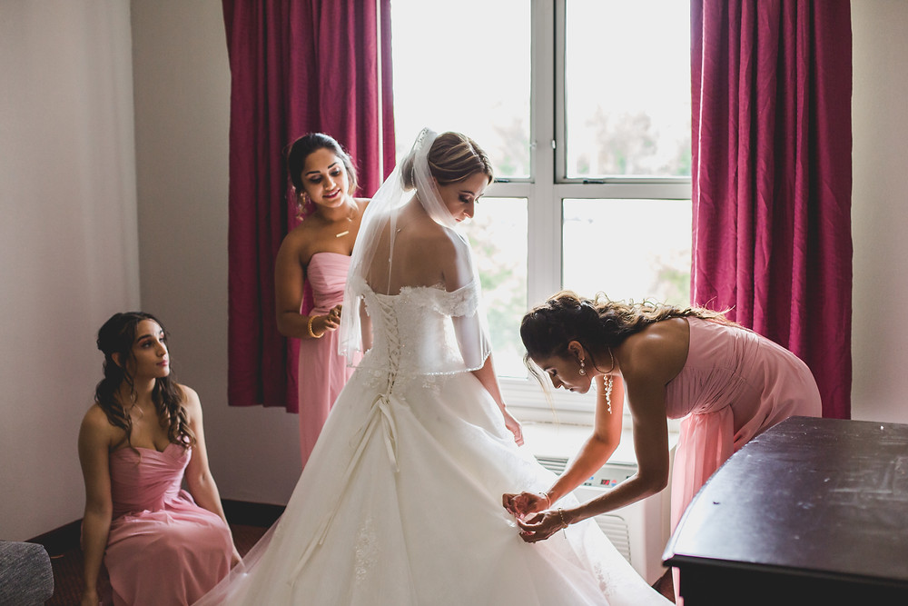 Bride and bridesmaids getting ready, Composed and Exposed Photography, Illinois wedding photographer,