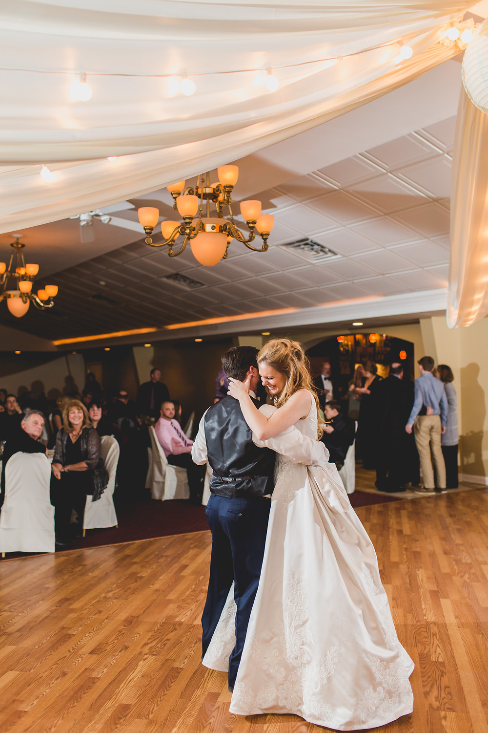 First dance, wedding photographer, Riverview Banquets in Batavia IL,
