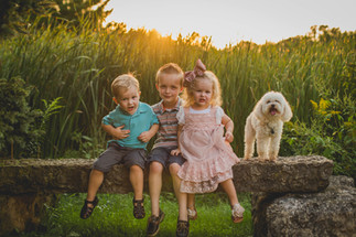 Summer family photo with kids and dog. Saint Charles IL photographer. Composed and Exposed Photography