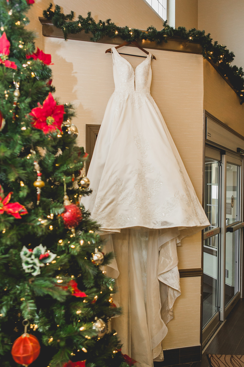 Christmas themed wedding, Wedding dress, Winter wedding in Batavia IL