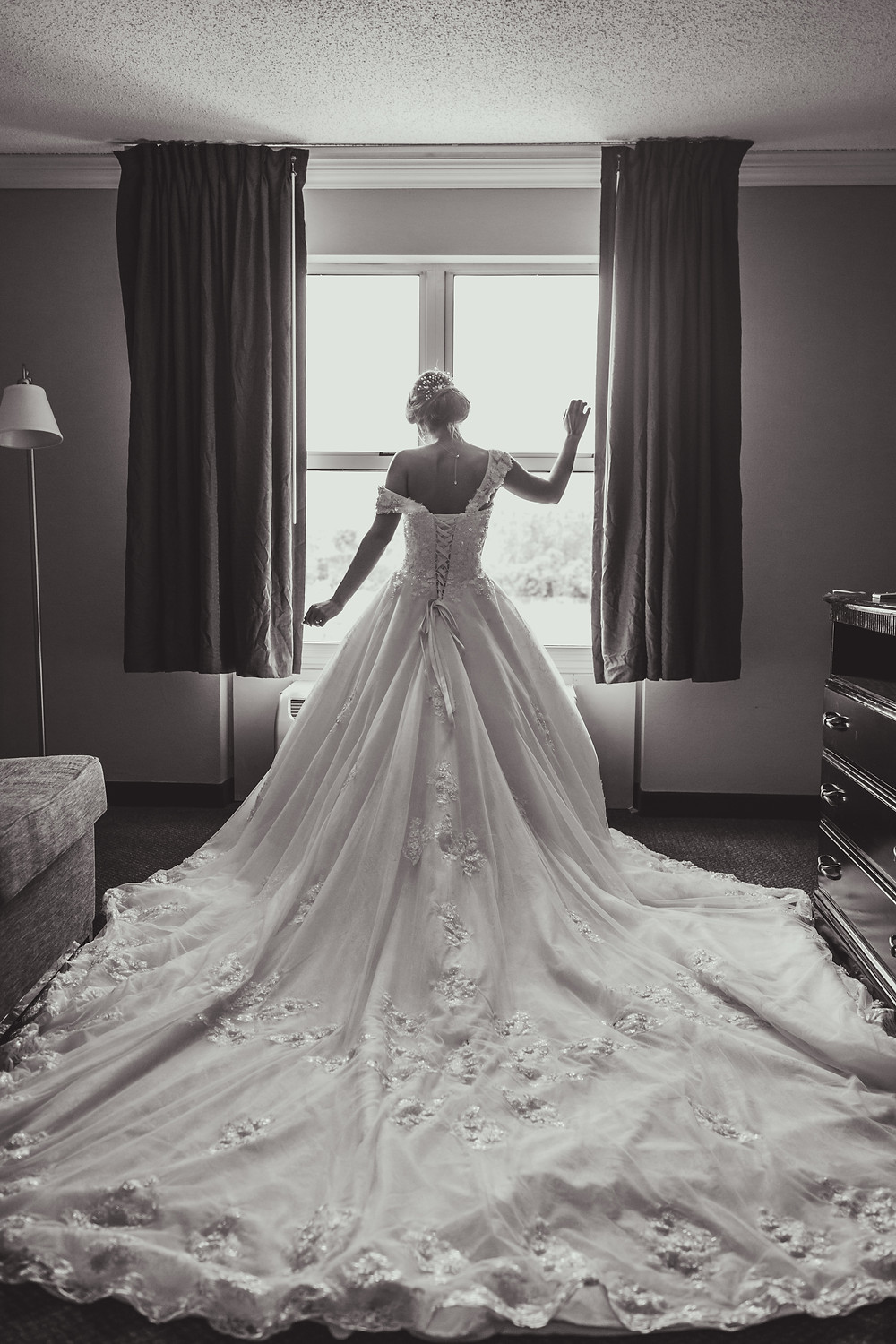 Long wedding dress, wedding dress train, Composed and Exposed Photography, Wedding photographer located in South Elgin,