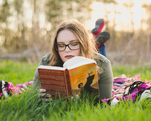 Bringing book with to a senior session. Sunset at Leroy Oaks St. Charles IL #HarryPotterSeniorSession Composed and Exposed Photography