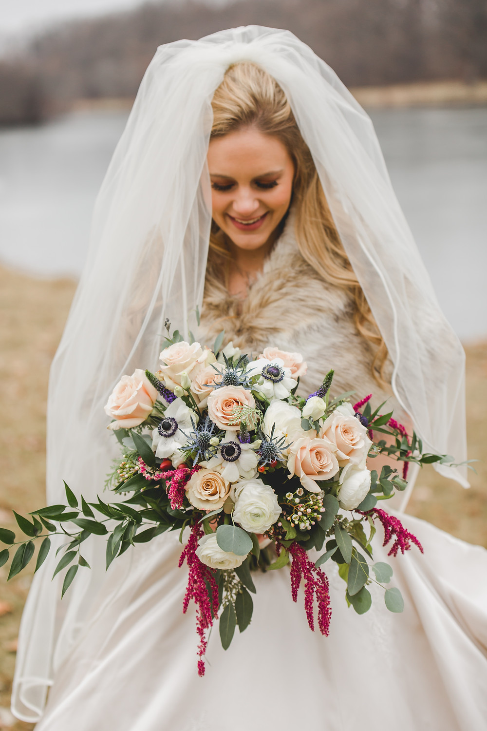 Bridal bouquet, wedding flowers, gorgeous bride, Composed and Exposed Photography, Winter wedding,