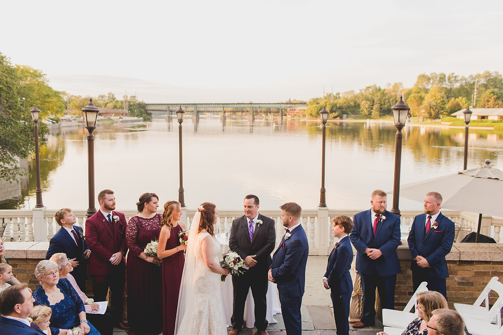 Wedding ceremony on the Fox River. Saint Charles IL wedding photographer