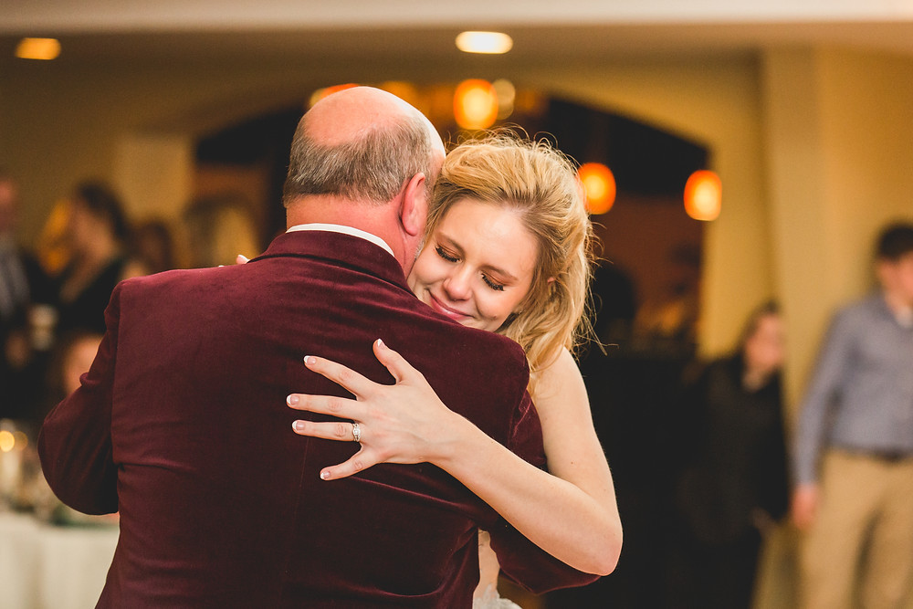 Emotional wedding photographer, Father daughter first dance, candid photography, Composed and Exposed Photography, Riverview Banquets Batavia IL, Illinois wedding photographer,