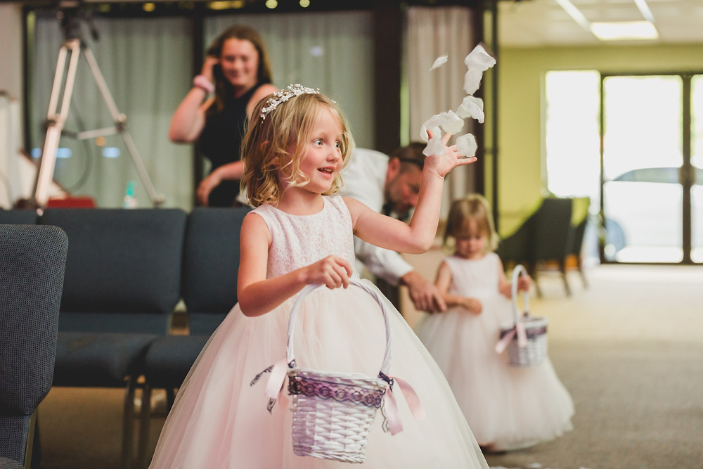 Flower girl, micro wedding, church wedding