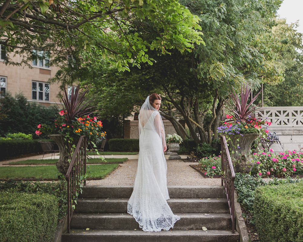 Gorgeous bride in Hotel Baker gardens.