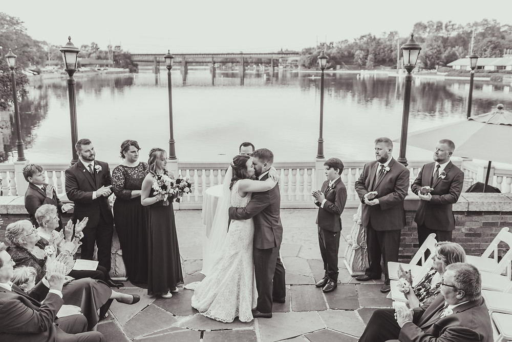 Wedding ceremony kiss!
