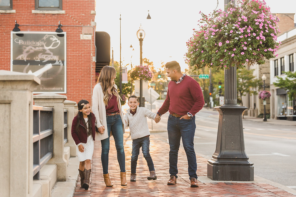 Fun and candid photography, urban family session, downtown family session, Batavia IL photographer, Composed and Exposed Photography