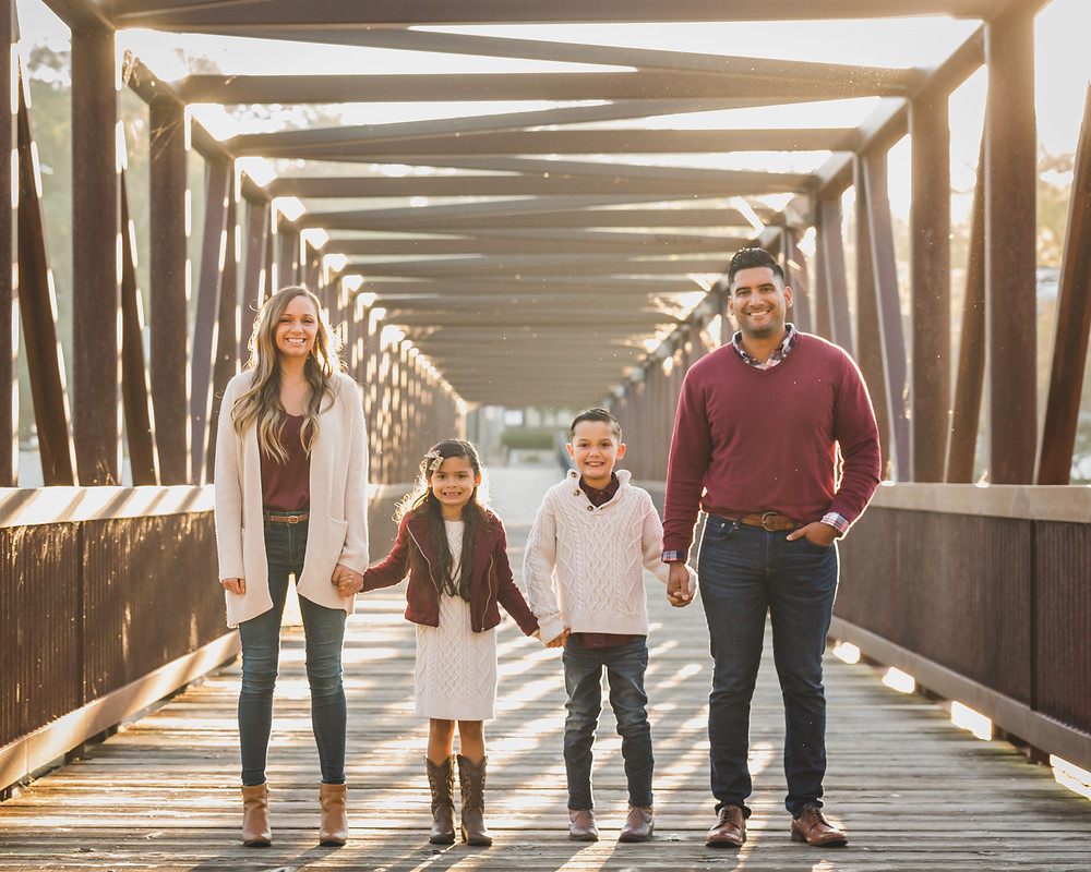 Golden hour, bridge family session, downtown Batavia session, Composed and Exposed Photography