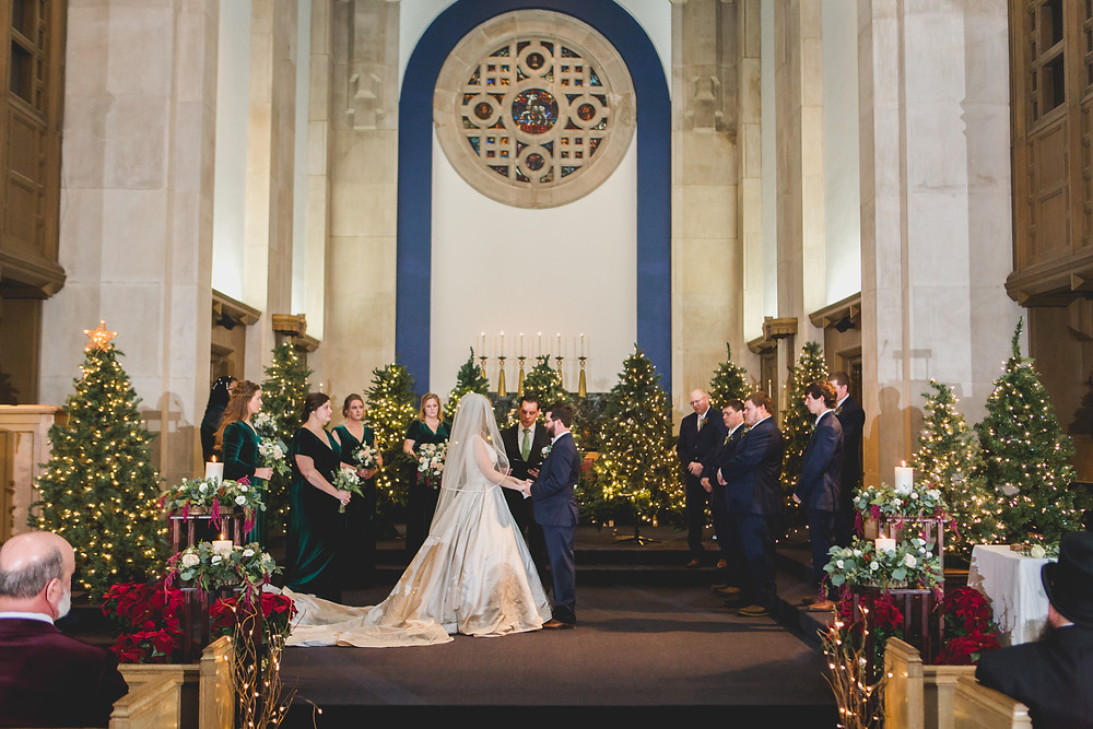 Christmas themed wedding ceremony, MooseHeart House of God Church, Batavia IL wedding, Composed and Exposed Photography,