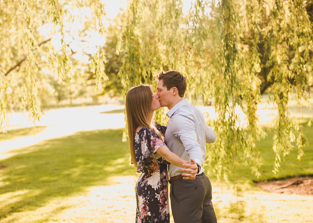 summer engagement session, willow trees, Chicagoland wedding photographer