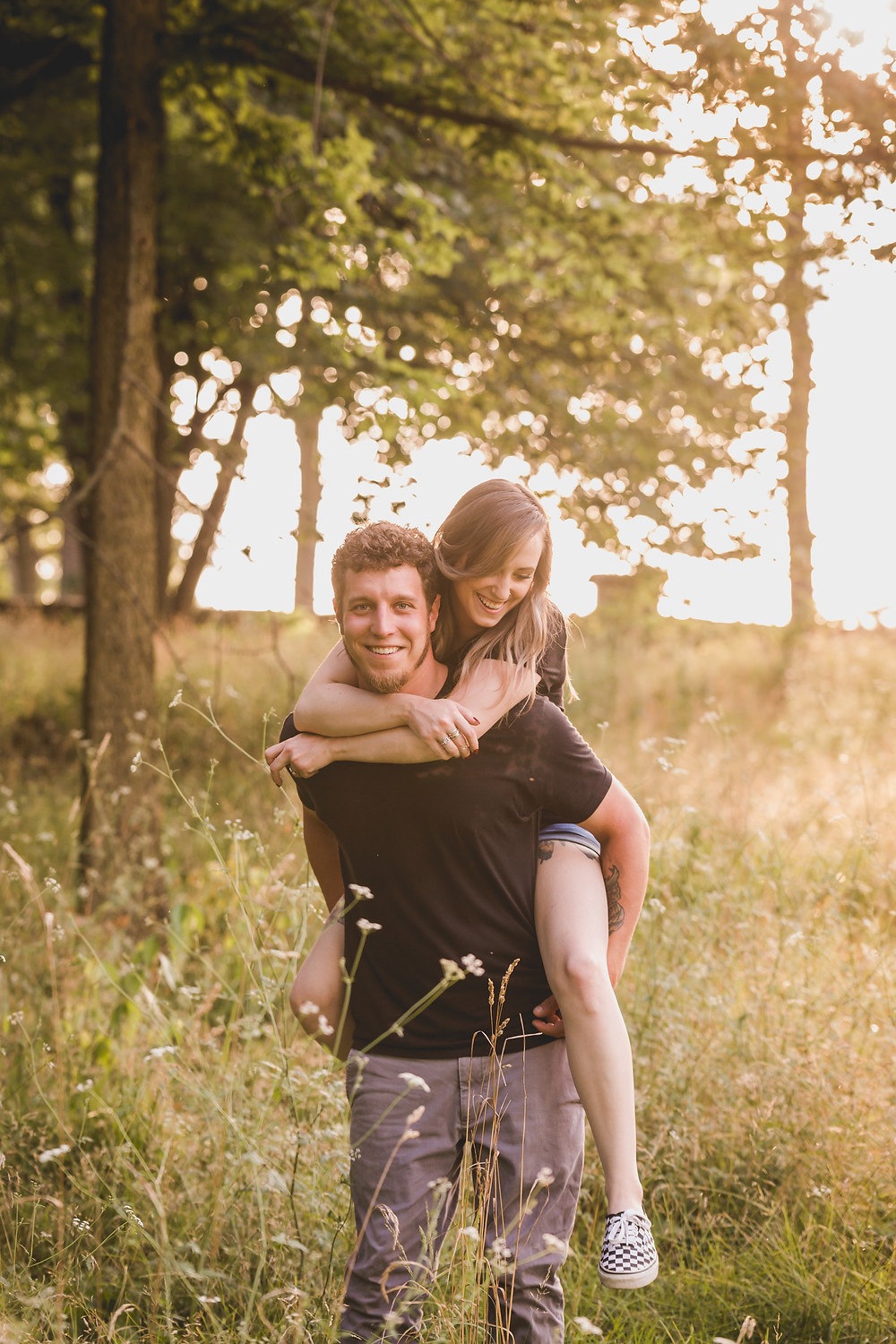 Fabyan Forest Preserve Geneva IL, Golden hour, fun and candid engagement session, Illinois photographer, Composed and Exposed Photography