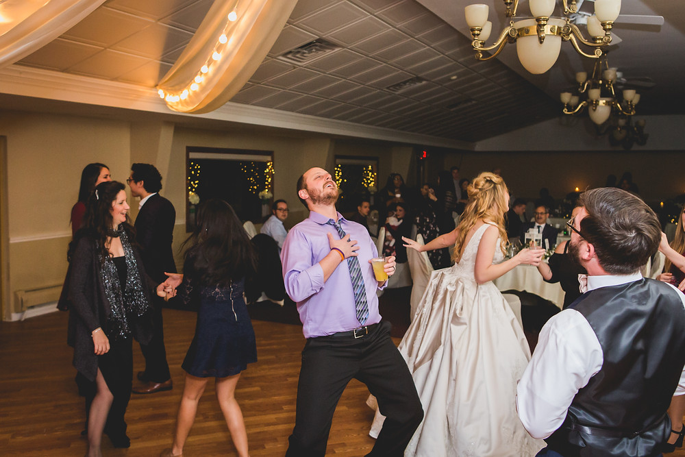 fun reception singing and dancing, fun wedding photos, Composed and Exposed Photography, Illinois wedding photographer,