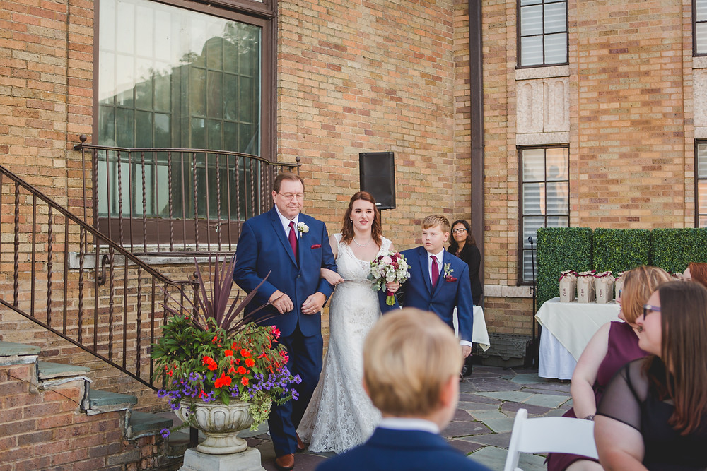 Wedding ceremony at Hotel Baker, Saint Charles IL.