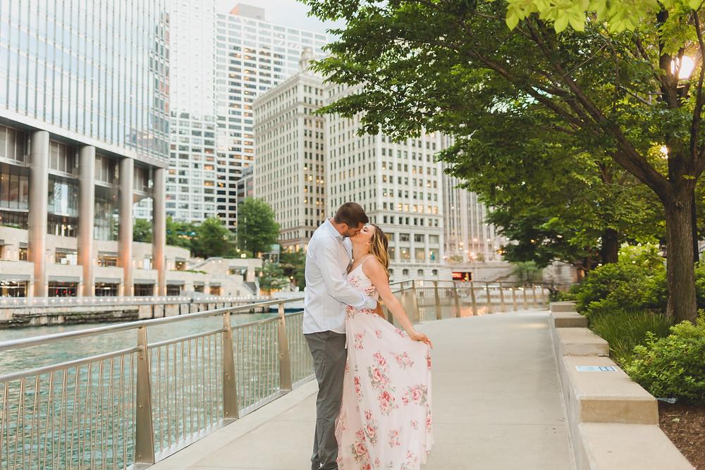 Romantic engagement session, Chicago Riverwalk