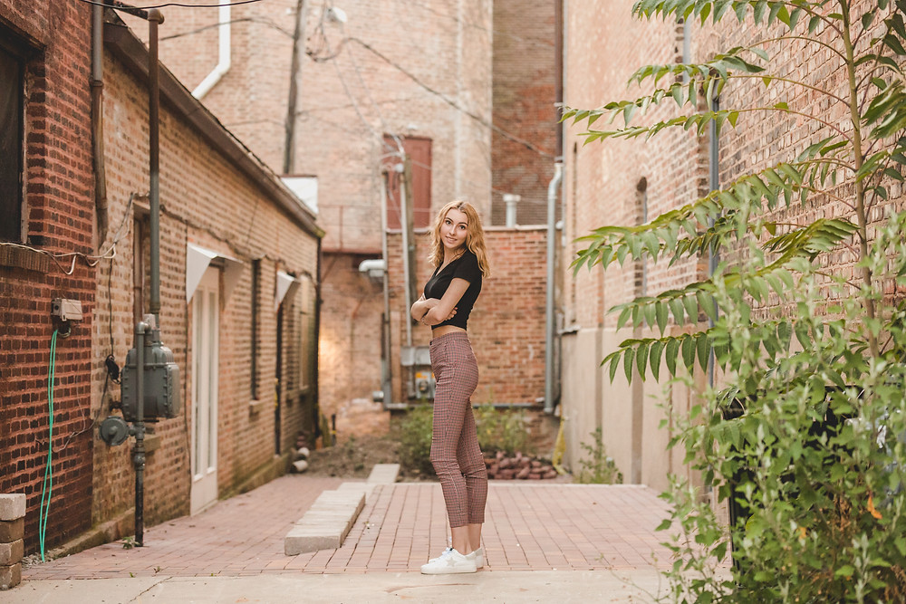 Alleyway senior session, downtown St. Charles IL senior session, Composed and Exposed Photography