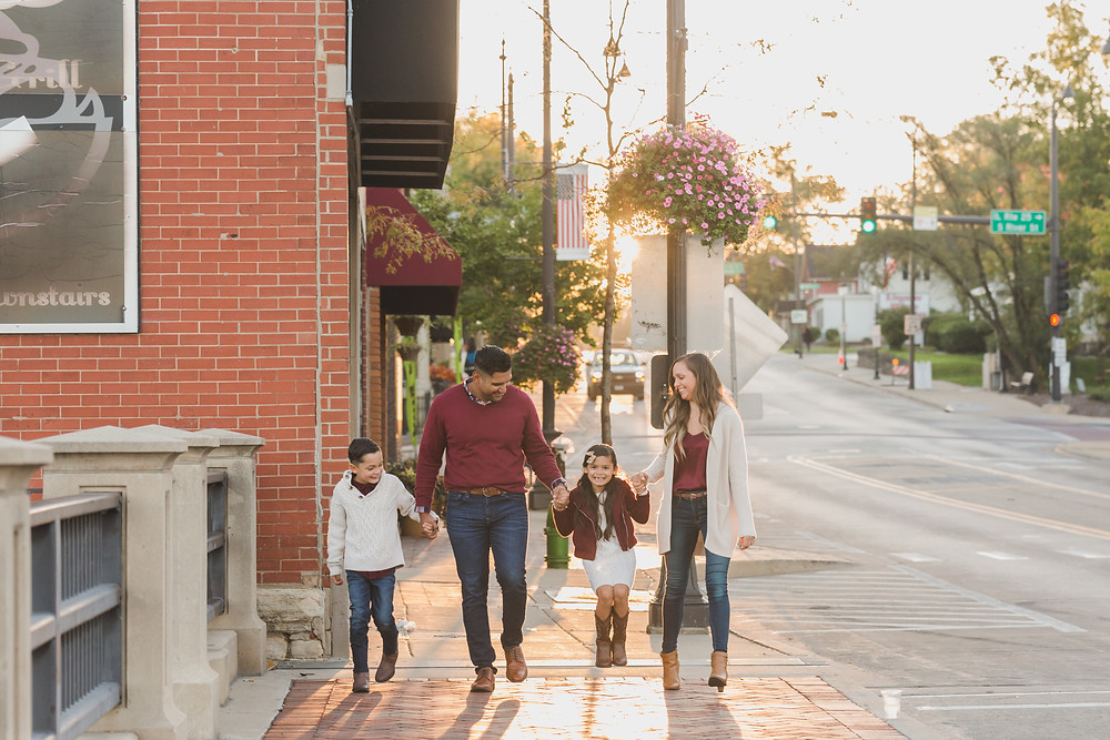 Fun candid family photography, downtown session, urban family session, Batavia IL photographer, Composed and Exposed Photography