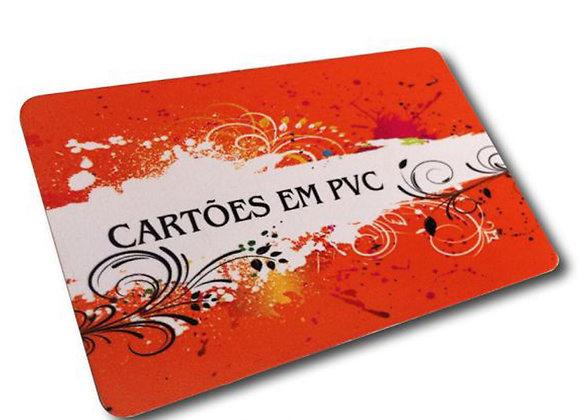 50 Cartões de Visita 54x85mm PVC Branco 0,3mm 4x4 Sem Verniz