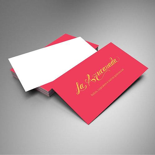 500 Cartões de Visita Couchê Brilho 250g 4x0 Verniz Total Brilho Frente