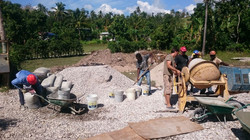Mixing concrete for kitchen