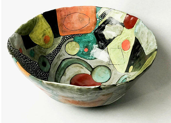 Large hand painted salad bowl