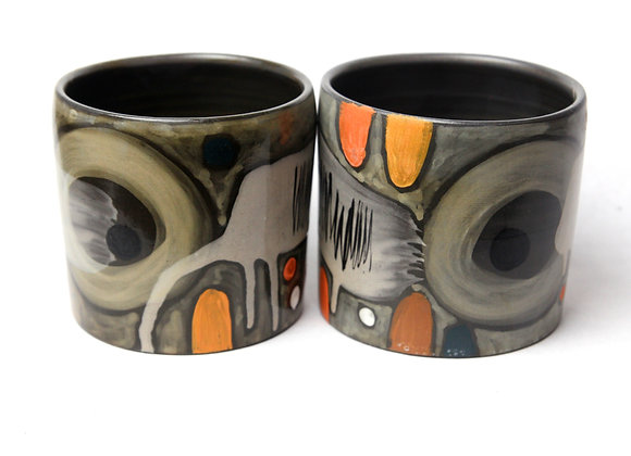 Pair Black Clay matte Mugs