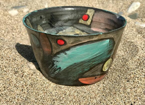 """Bird""bowl, handpainted, turquoise rim"