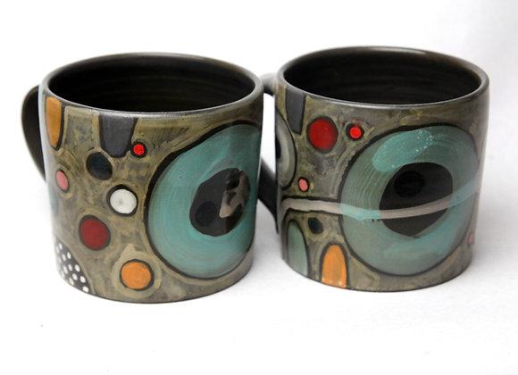Black clay mugs (pair)