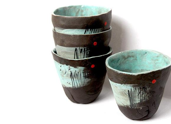 Pair of Aqua Teacups