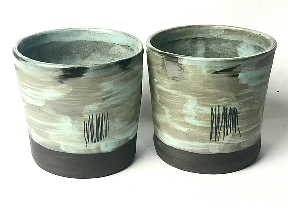 Pair of black clay cocktail cups