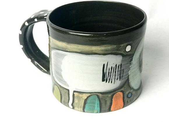 Black clay mug