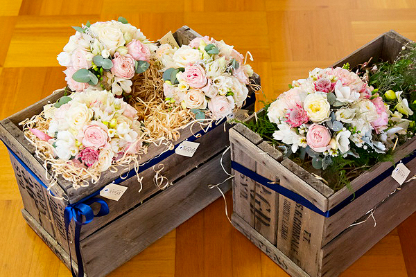 bouquets in vintage boxes