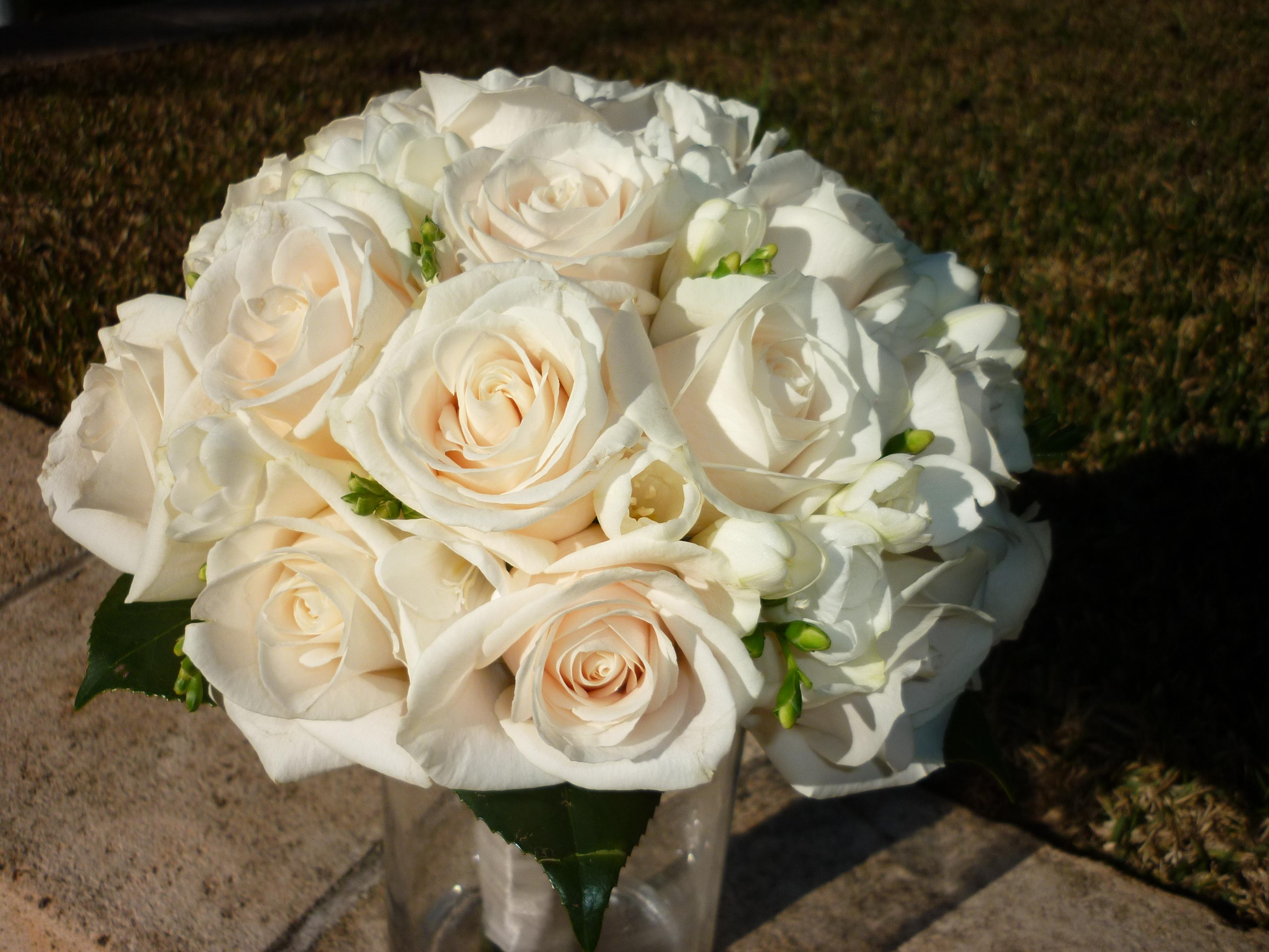 Cream roses with white fresia