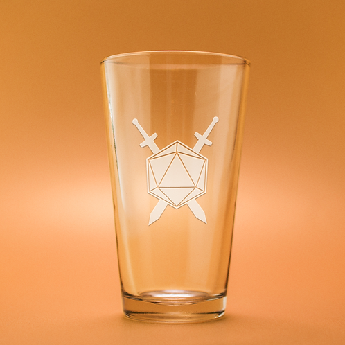 D20 With Swords Crossed Etched Pint Glass
