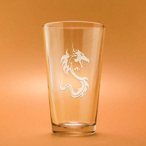 Dragon Profile Etched Pint Glass