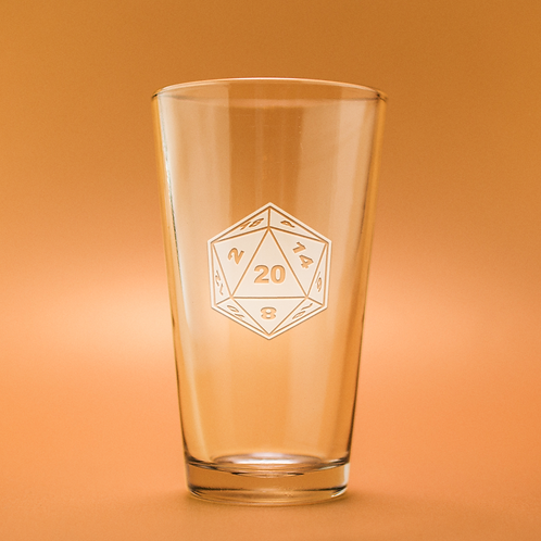 D20 Etched Pint Glass