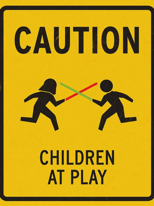 Caution Children at Play Tin Sign