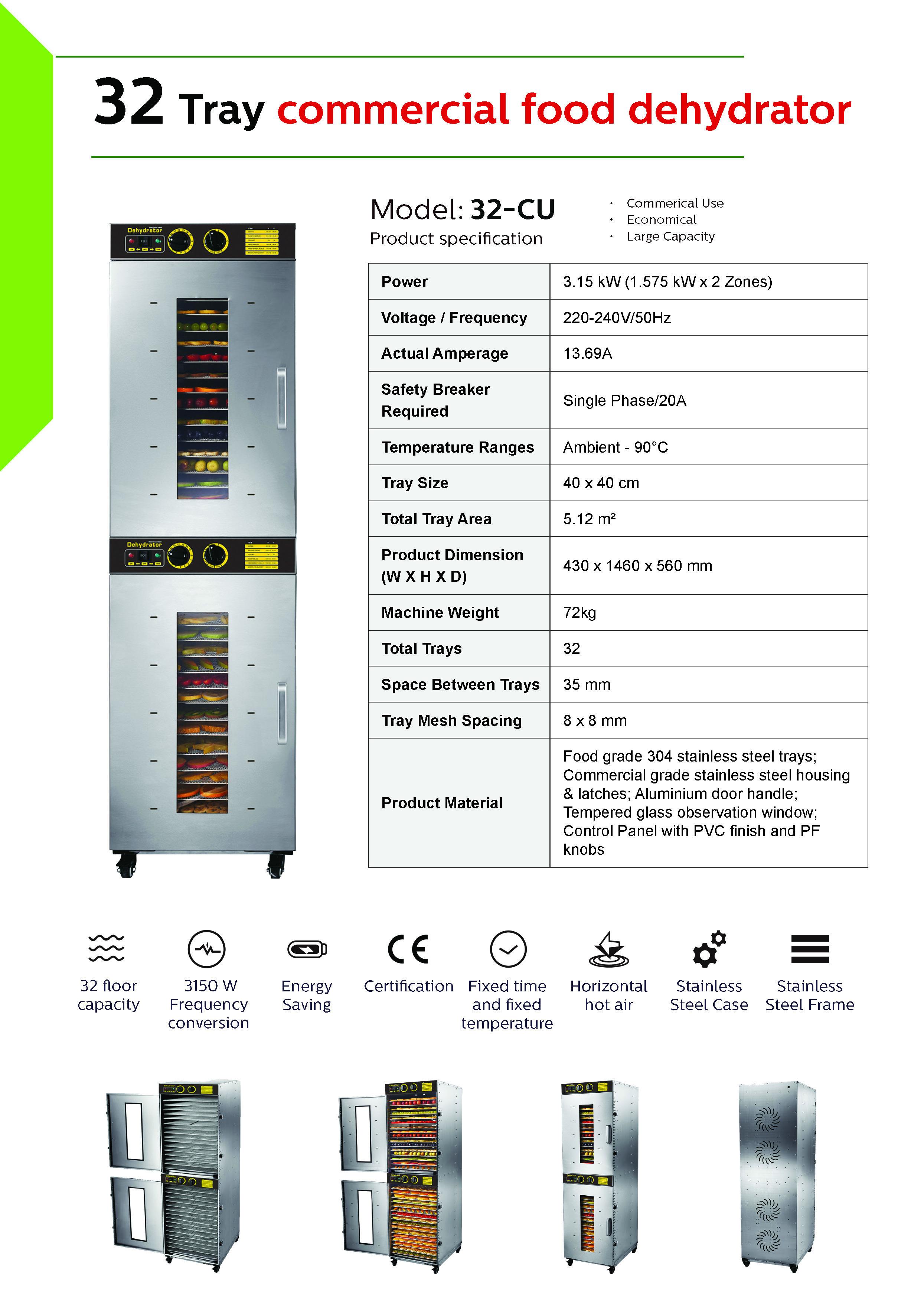 Bench Foods 32-CU Premium Commercial Food Dehydrator