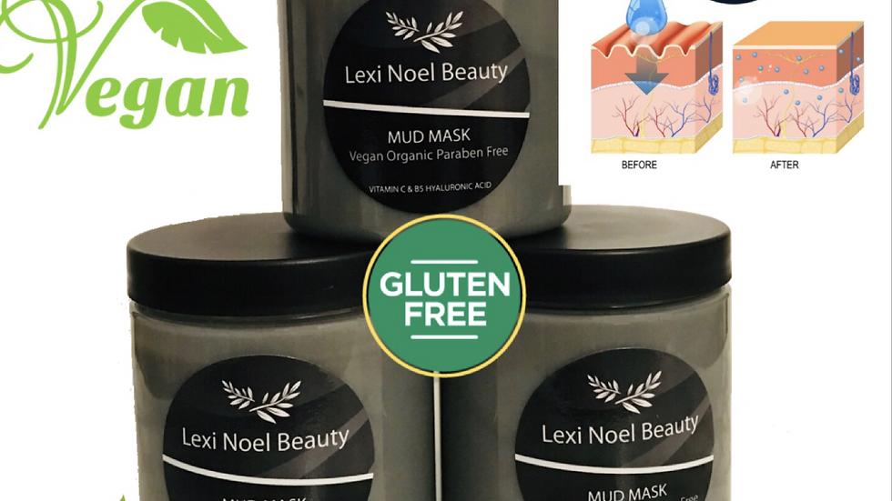 Organic, Cruelty Free,  Vitamin C Charcoal Mud Mask, Gluten Free, Vegan.