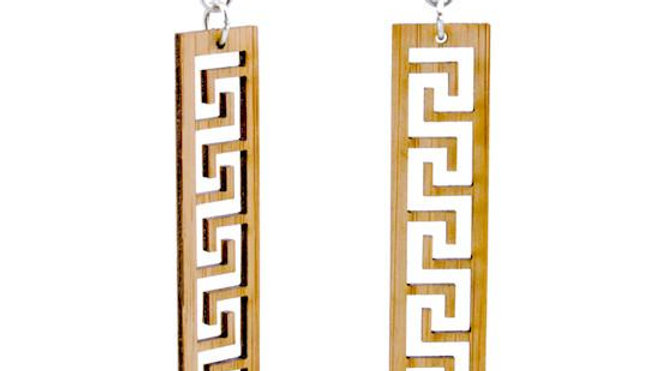 Greek Design Bamboo Earrings, Eco-friendly, sustainable