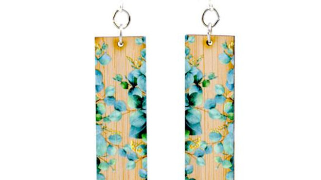 Eucalyptus Bamboo Earrings, eco-jewelry, sustainable