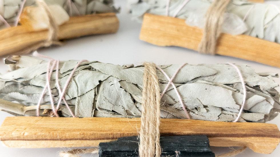 Handmade Palo Santo & Sage Smudging Bundle with Crystal