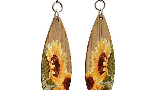 Bamboo Earrings, Sunflower design, eco-jewelry, sustainable