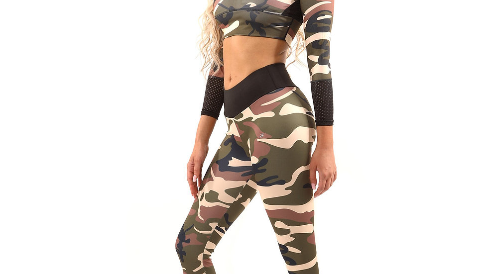 Leggings with Matching  Long Sleeved Sports Bra, Virginia Camouflage Style