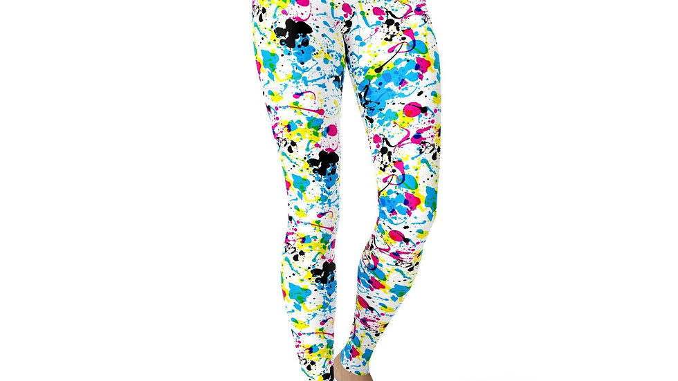 Handmade, high waist leggings, by Buttersoft Love, Paint Splatter Design