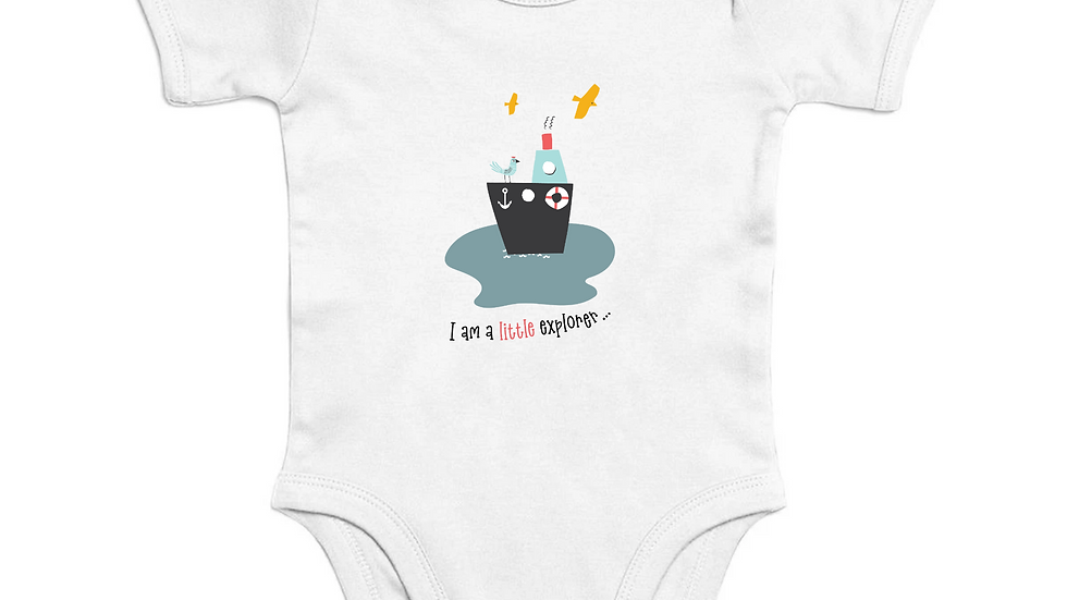 Organic Cotton Short Sleeve  Baby Bodysuit, hand drawn design, eco-friendly
