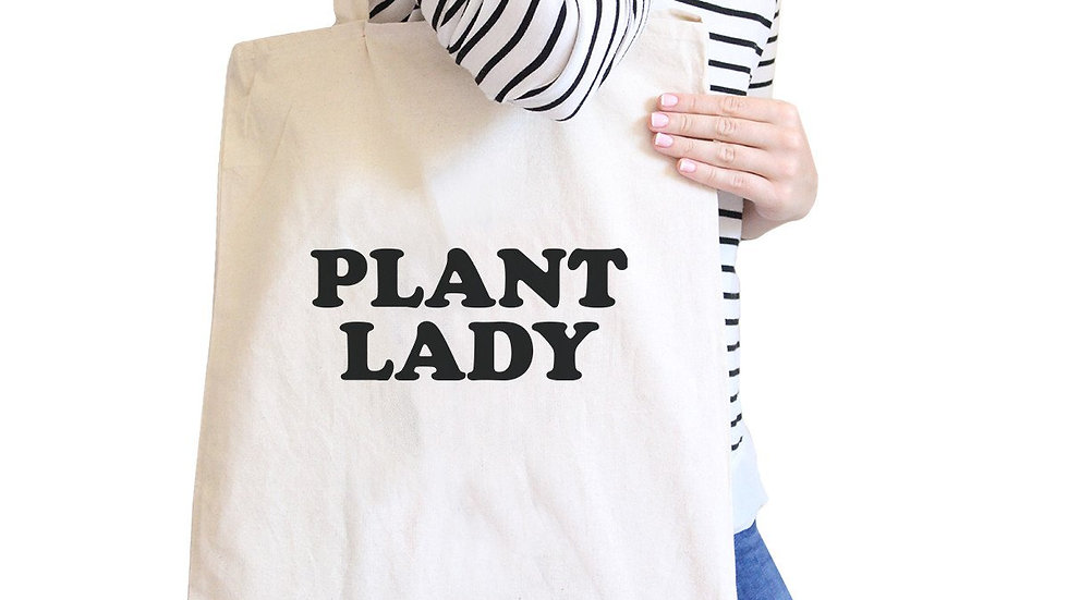 Plant Lady Natural Reusable Canvas Tote Bag