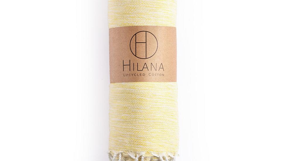 Yalova Turkish Ultra Soft hand loomed recycled cotton blanket-throw - Yellow