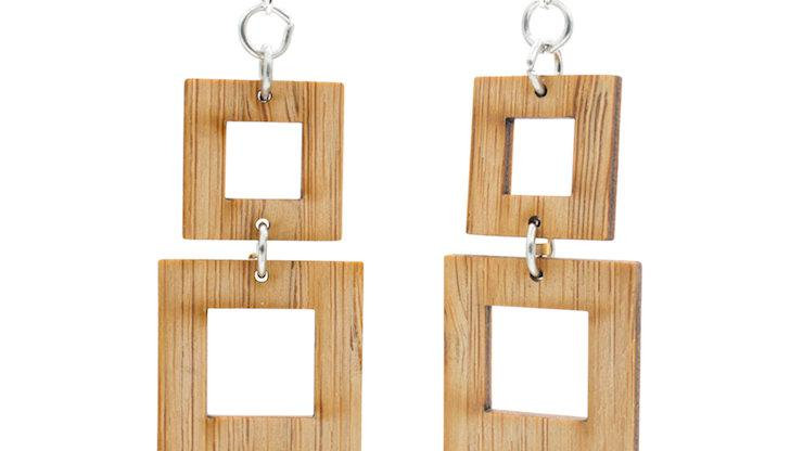 Squared Bamboo Earrings, eco-jewelry, sustainable